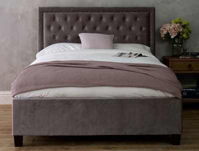Limelight Rhea Silver Colour Fabric Bed Frame