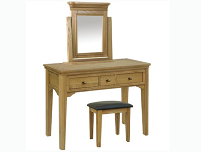 Loire Oak Dressing Table with Optional mirror and Stool