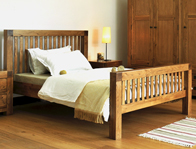 Oak Bedrooms Boston Cube Bed Frame