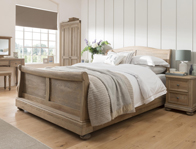 Oak Bedrooms Huntsman Smoked Oak Sleigh Bed Frame