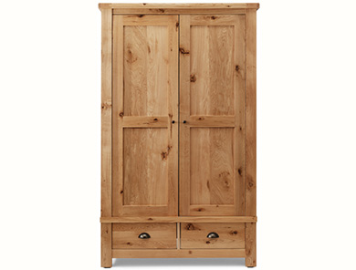 Originals Normandy Distressed French Oak Double Wardrobe