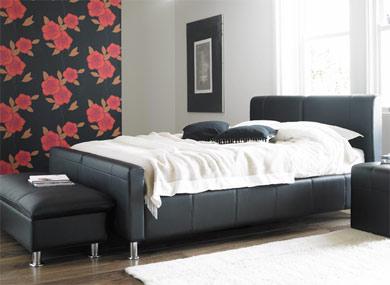 Dorlux Barcelona Modern Black Leather Bed Frame