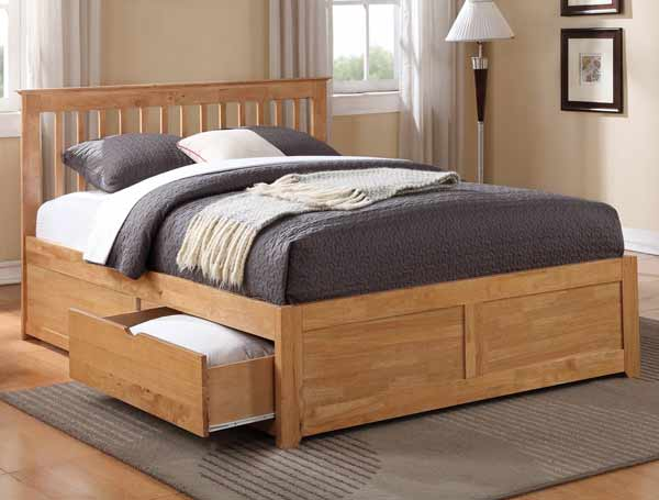 Flintshire furniture pentre oak finish 2 drawer bed frame for Storage beds uk