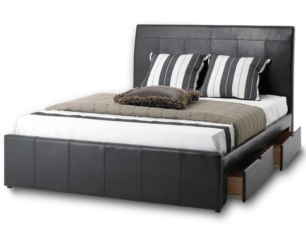 Bedmaster madissen faux leather drawer bed frame buy for Bed master