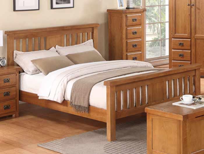 annaghmore harvest rustic darker oak bed frame - Oak Bed Frame