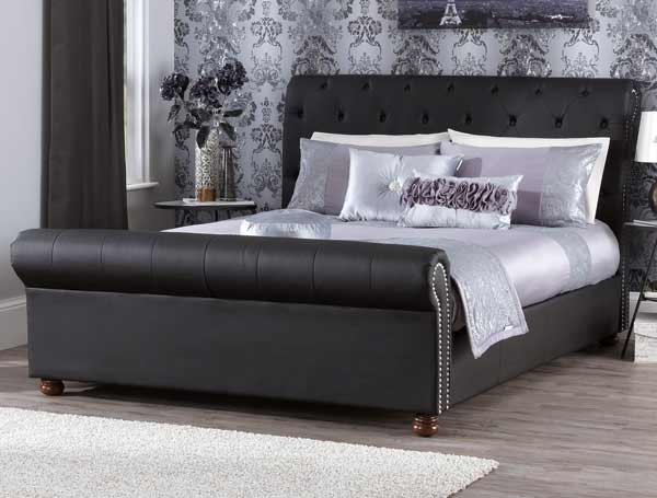 Serene Andria Black Faux Leather Bed Frame