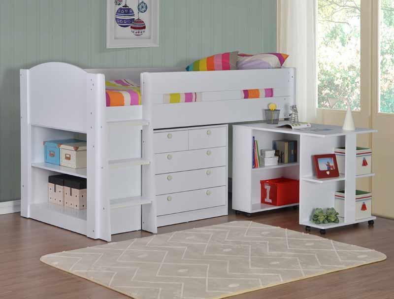 Small Box Room Cabin Bed For Grandma: Flintshire Furniture Frankie White Cabin Bed