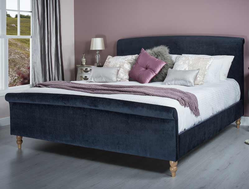 Blue Fabric Bed Part - 18: Cadot Zafia Midnight Blue Fabric Bed Frame