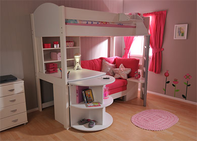 Stompa Casa 4 in white with pink cushions