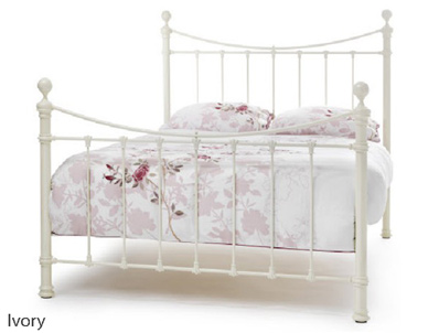 Serene Ethan Victorian Metal Bed Frame Ivory  Brass