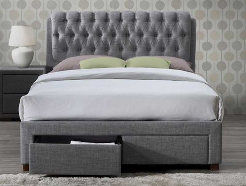 Birlea Valentino Grey 2 Drawer Faric Bed