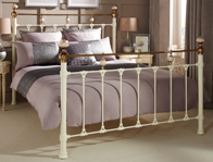 Serene Abigail Ivory & Brass Metal Bed Frame Double Size Only