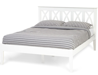 Serene Autumn Opal White Painted Wooden Bed Frame