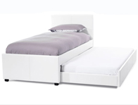Serene Carra White Faux Leather Guest Bed Frame