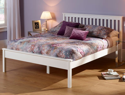 Serene Heather Opal White Painted Bed Frame