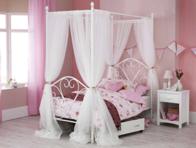 Serene Isabelle Satin White 4 Poster Bed Frame