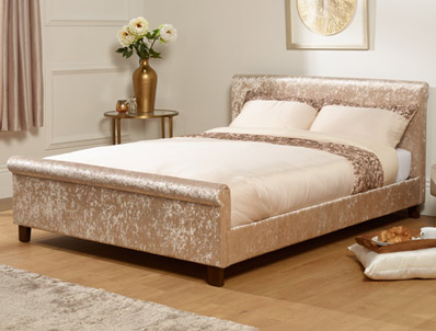 Serene Stella Crushed Silver Velvet Fabric Bed Frame Discontinued