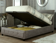Serene Wesley Steel Colour Fabric Ottoman Bed Frame