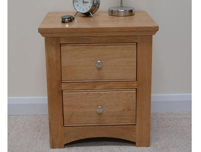 Sleepcraft Knightsbridge Solid Oak 2 Drawer bedside Cabinet