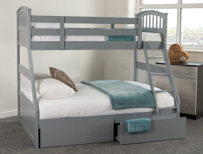 Sweet Dreams New Apollo 3 Grey Sleeper Bunk Bed with Under Bed Drawers