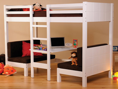 Sweet Dreams Play White Wood Bunk Bed