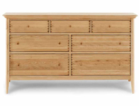 Willis Gambier Spirit 7 Drawer Wide Low Oak Dresser Chest